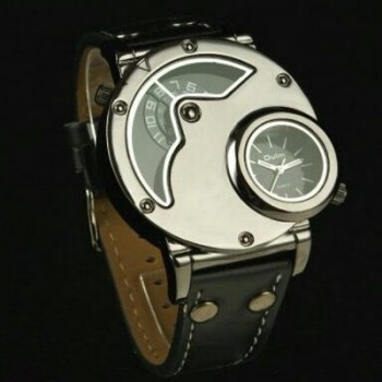Oulm Military Classic Metal Stainless Steel Original Genuine Leather Bogus Phase Wristwatch