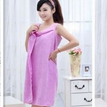 Female Bath Robe - Towel Purple