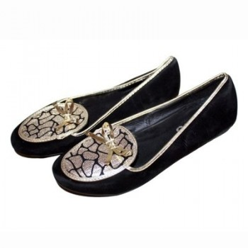 Ladies Loafers - Black & Gold 10