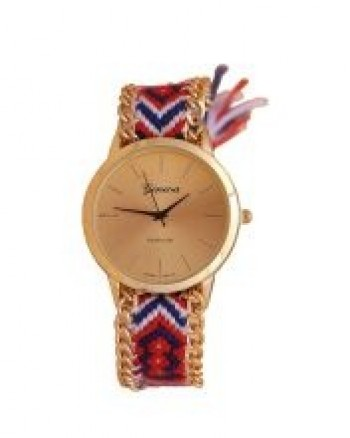 Golden Face Ladies Quartz Wrist Watch - Red